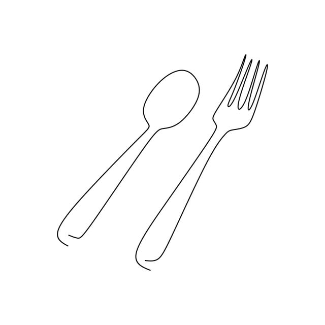 One Line Drawing Of Fork And Spoon With A Very Simple Line Vector And Png Spoon Drawing Line Drawing Restaurant Icon