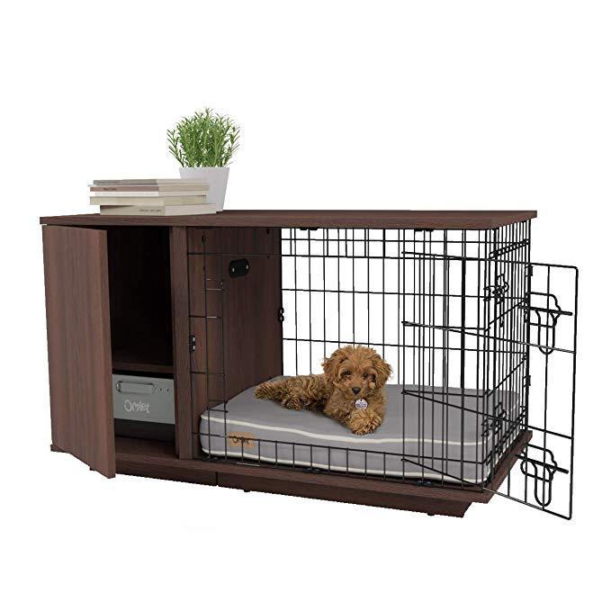 Amazon Com Omlet Fido Studio 24 Luxury Dog Crate Dog Bed With Wardrobe Walnut Pet Supplies Dog Crate Dog Bed Luxury Dog