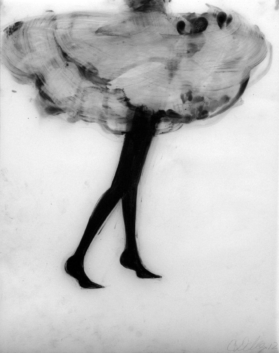 Cathy Daley Little Black Dress. Oil Pastel White