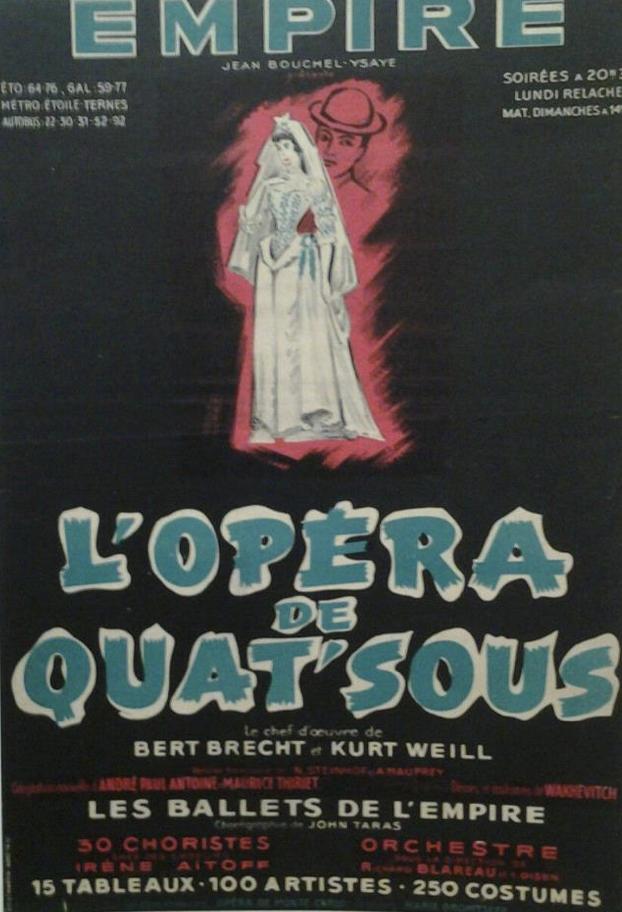 Theatre De L Empire L Opera De Quat Sous 1954 Spectacle Theatre Opera Theatre