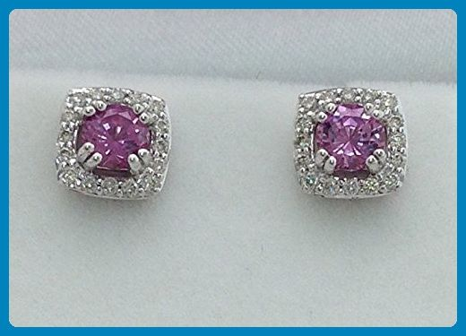 0.96 Carat Pink Sapphire and Diamond Earrings - 14K White Gold Halo Studs - Wedding earings (*Amazon Partner-Link)
