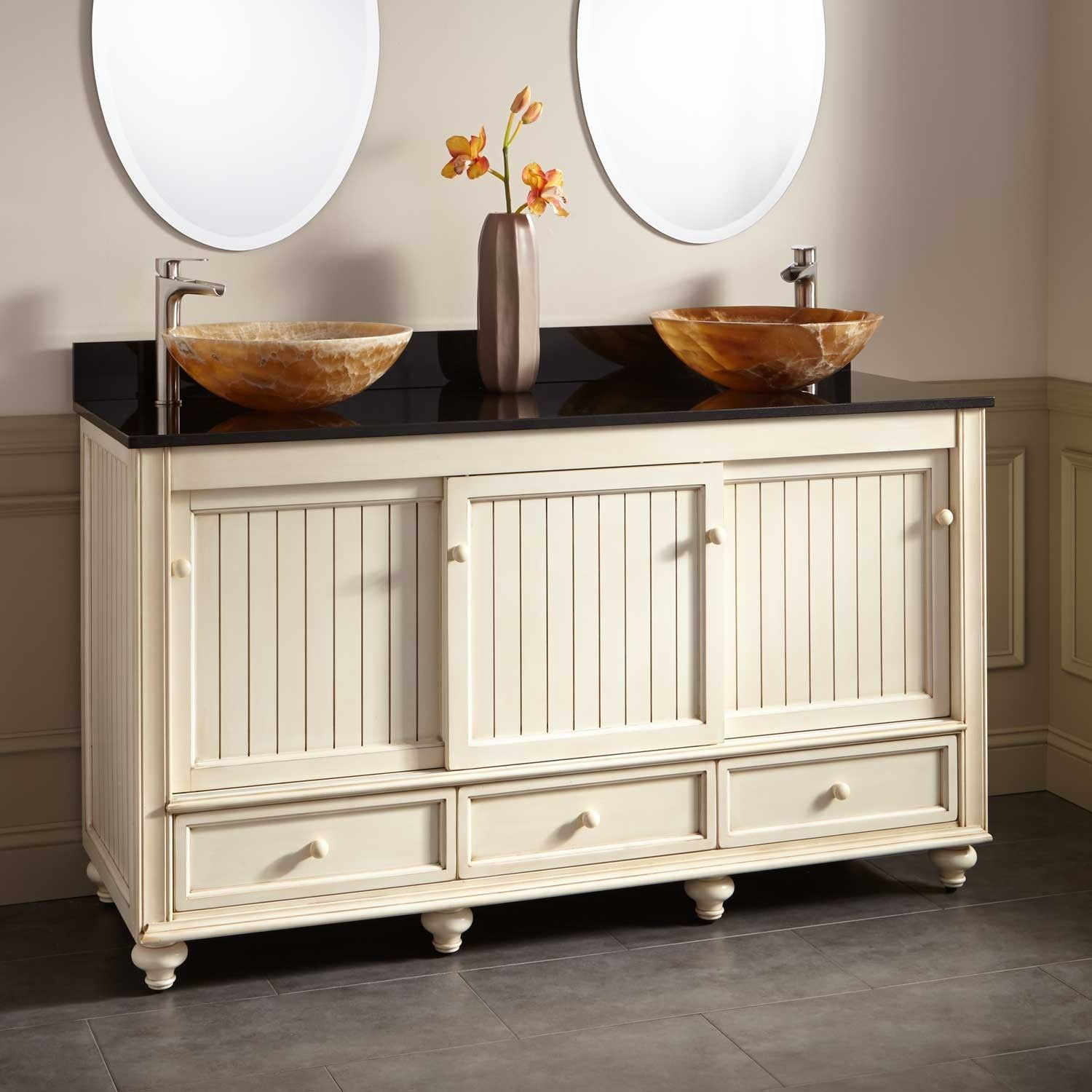 60 bristol beach double vessel sink vanity antique white vanity rh pinterest com