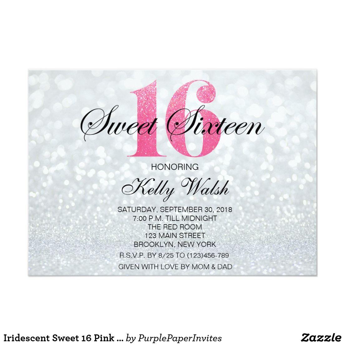 Iridescent Sweet 16 Pink Glitter Invitation | { Happy Birthday ...