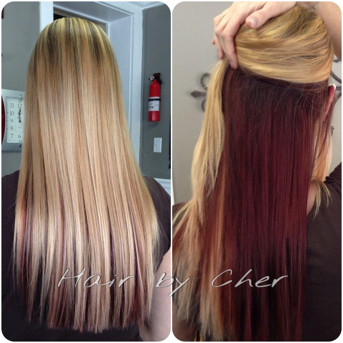 Blonde highlights ideas pinterest - Blonde And Red Hair Blonde Highlights And Red Hidden Underneath