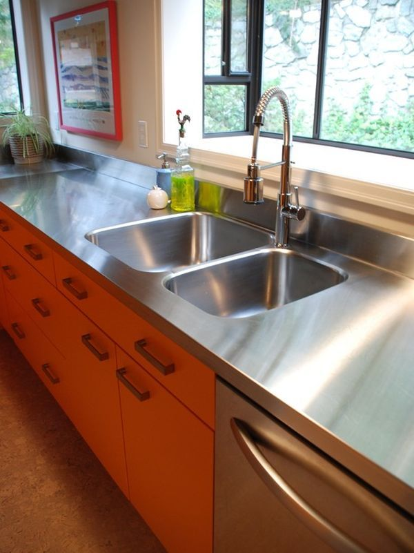 Stainless steel countertops always the best choice in for Stainless steel countertop with built in sink