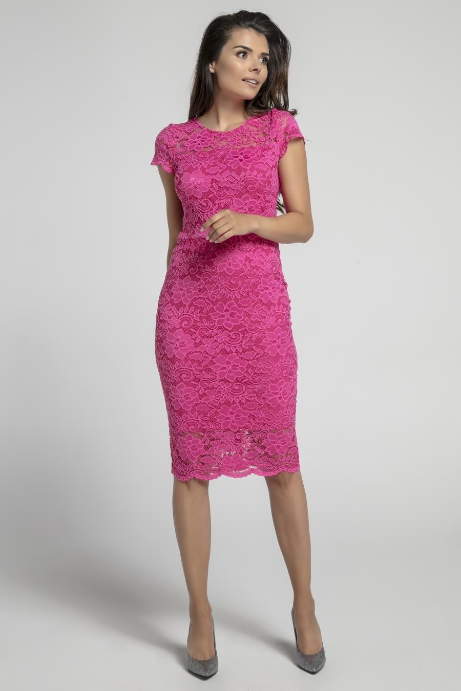 ff44797b1e Dopasowana Sukienka Midi z Koronki Ciemny Róż NA574