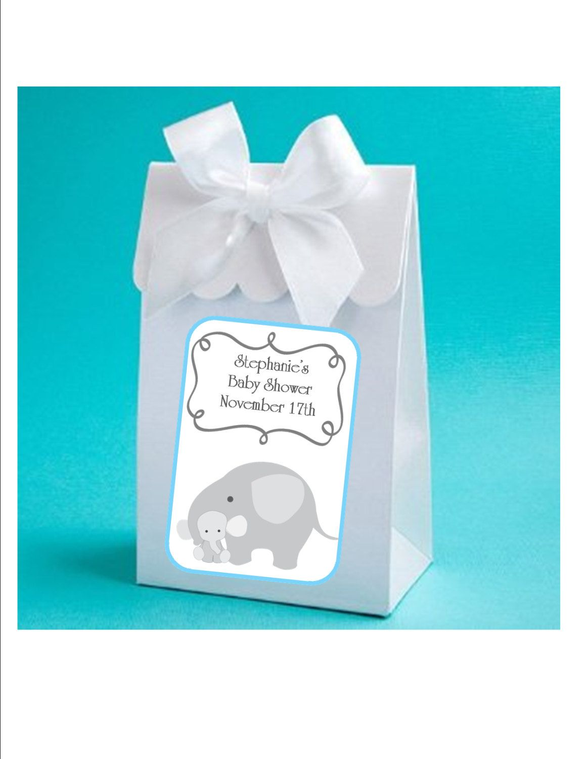 Personalized Blue Elephant Baby Boy Shower Favor Boxes   Baby Boy Elephant  Shower Favors, Baby