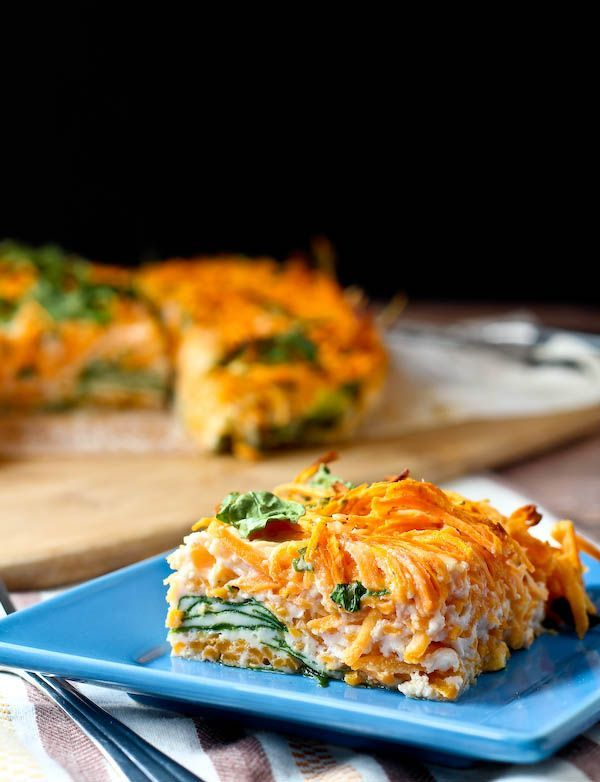 Egg White Breakfast Bake with Spiralized Sweet Potato and Spinach is simple to make, colorful, and the perfect make-ahead breakfast! Get the healthy breakfast recipe on RachelCooks.com!