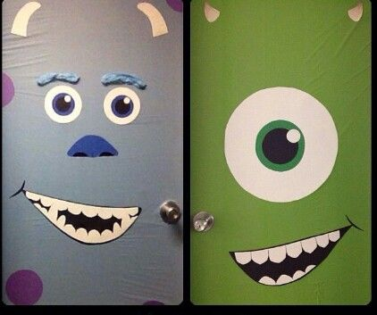 Monster door covers using plastic table cloth Monster Party