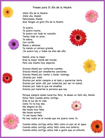 Spanish Mother S Day Phrases For Kids To Use In Cards With