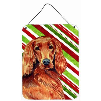 Caroline's Treasures Irish Setter Candy Cane Holiday Christmas by Lyn Cook Graphic Art Plaque