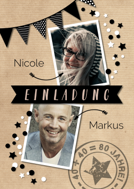 Tolle Einladungskarte zum zusammen 40 Geburtstag feiern mit zwei