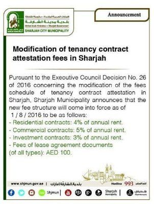 Sharjah rent contract registration fee doubled from August Mandatory