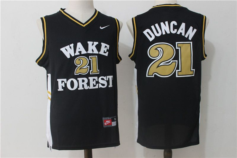 27187c9f667 Wake Forest Demon Deacons 21 Tim Duncan Black College Jersey