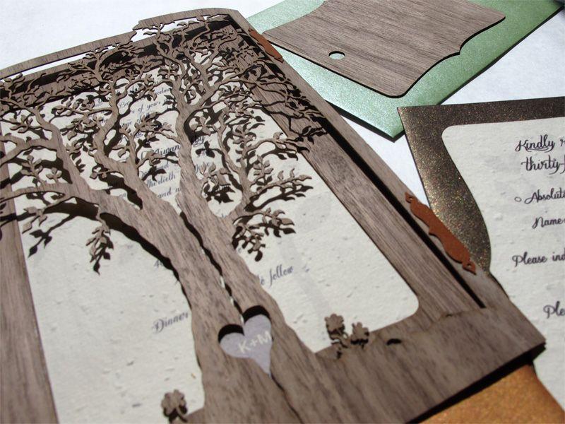 Walnut wood laser cut \'Love Tree\' wedding invites featuring heart ...