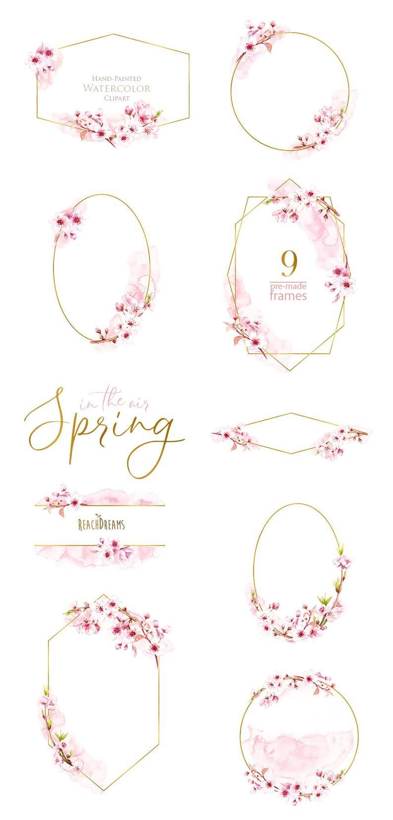 Watercolor Frames Floral Sakura Pre Made Clipart Blossom Etsy Clip Art Wedding Invitation Card Quotes Floral Watercolor