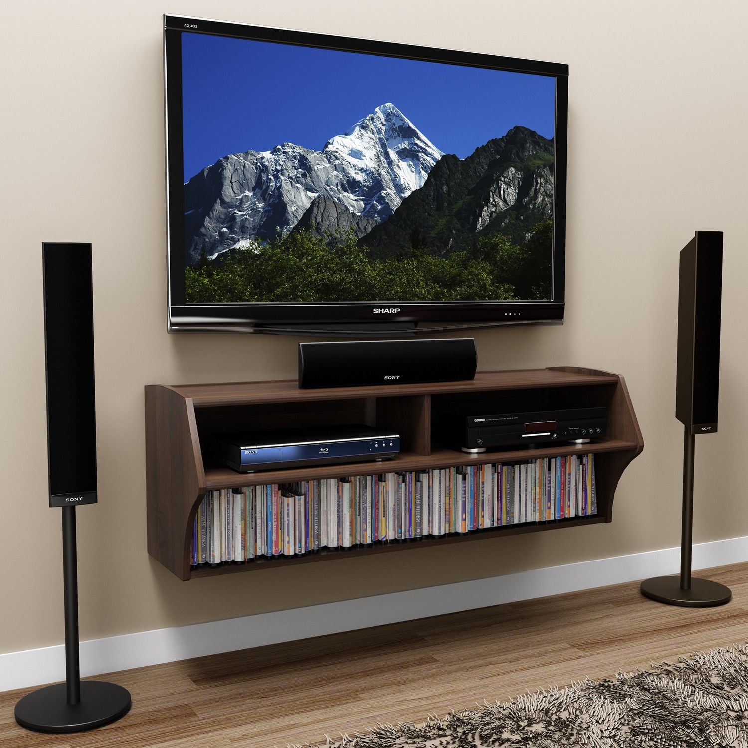 Interior Furniture Espresso Walnut Floating Tv Cabinet With Dvd ...