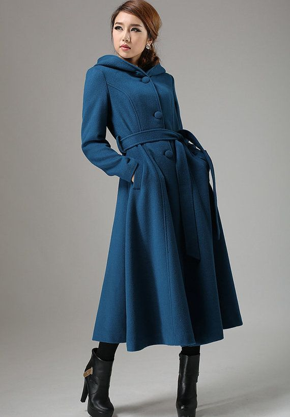 Blue coat, wool coat, swing coat, womens coat, long coat ,hooded ...