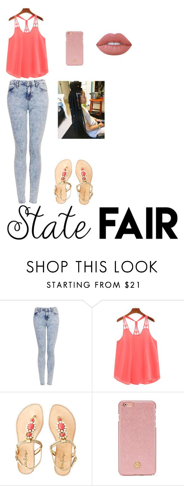 """""""state fair date"""" by cece-slay ❤ liked on Polyvore featuring Topshop, Lilly Pulitzer, Tory Burch, Lime Crime, statefair and summerdate"""