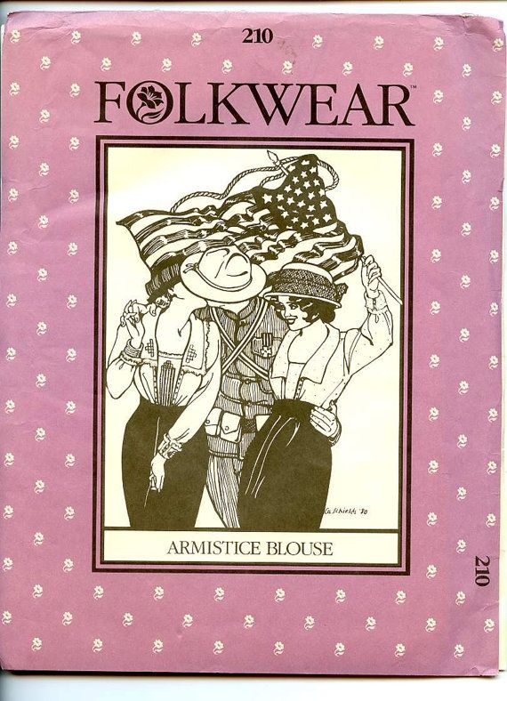 """©1982 Folkwear Misses' Blouse pattern 210 in 2 views with optional drawn thread work. """"The back of the Blouse extends over the shoulders to meet the lightly gathered front, and gathers at the center back waist into a self tie or ribbon, which encircles the waist to tie in front. The long collar falls softly over a center panel, or vestee, forming a deep rectangular neckline. Tiny buttons close the blouse on the left side. Long set-in sleeves gather into wide turned-back cuffs. Folkwear…"""