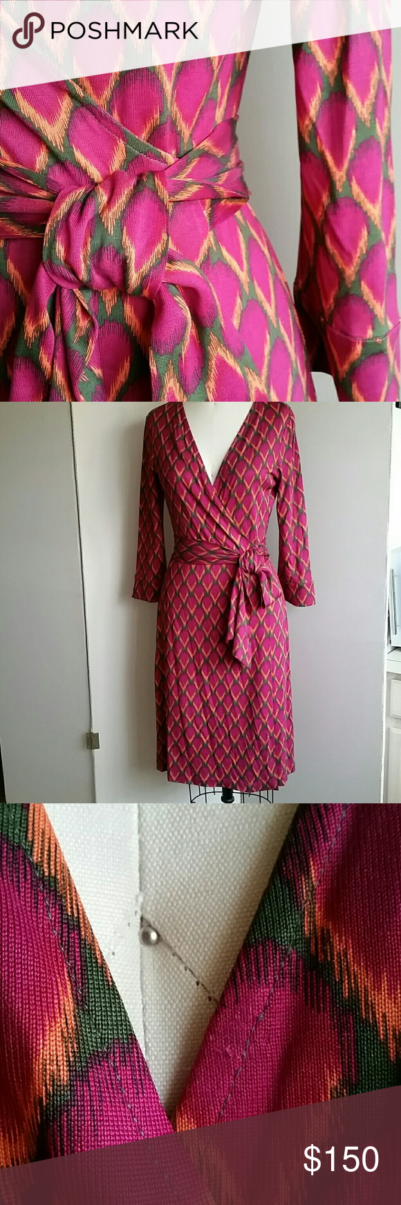 DvF Pink Julian D189001V7F Size 12 Vintage Label Excellent condition, see photo 3 where previous owner had snap put on. I removed it as best I could. Looks more prominent in pic than real life. Fushia, orange against a dark greenish brown. Diane von Furstenberg Dresses