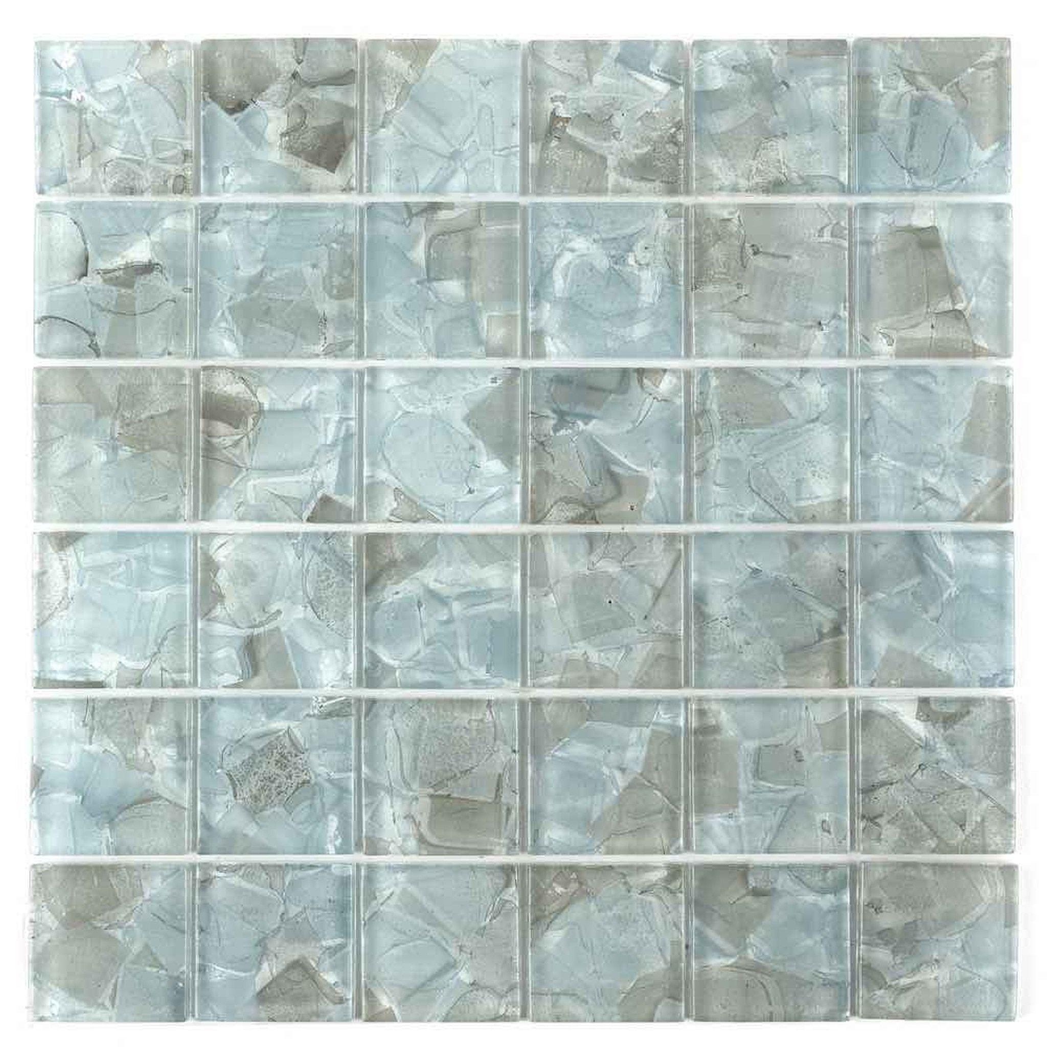 Liquid Glass Mosaic Tile Aqua 2 X 2 Mosaic Glass Glass Mosaic