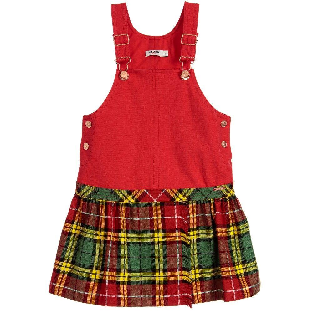 Junior Gaultier Red & Tartan Dungaree Dress