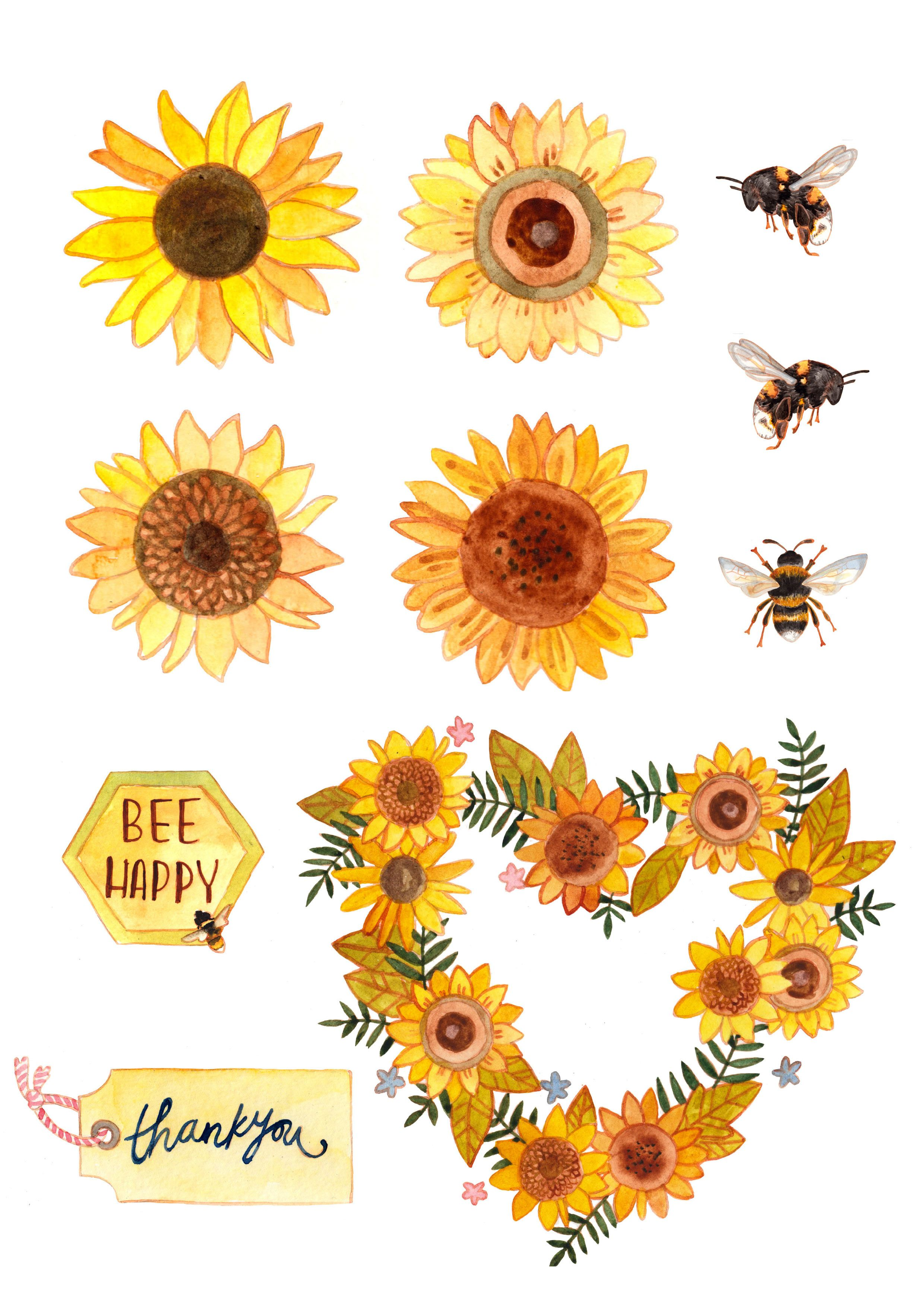 Free Sunflower And Bee Printables Bee Printables Sunflower Printable Free Printable Art