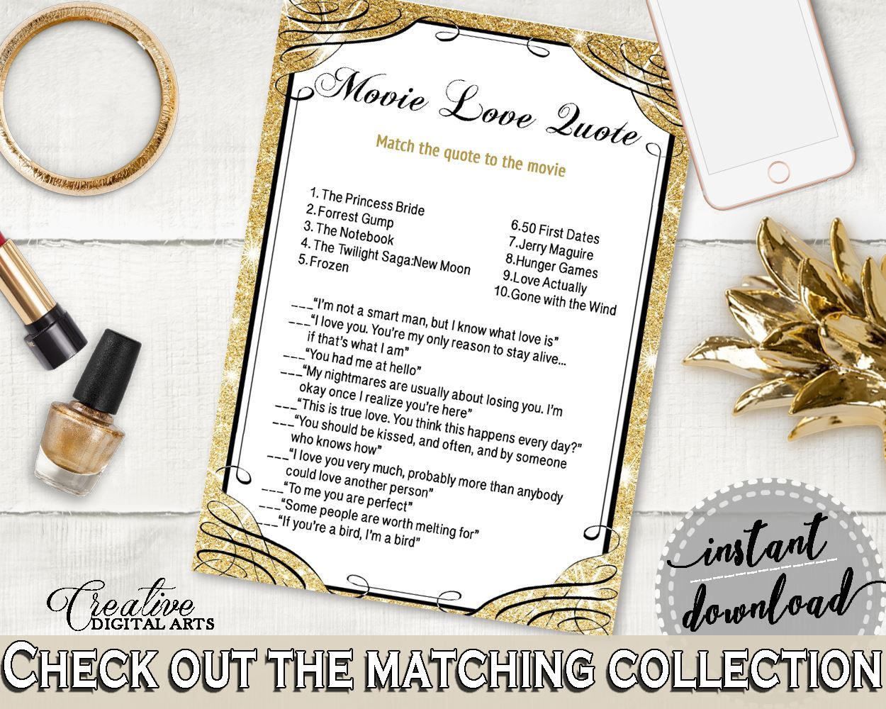 Movie Love Quote Game in Glittering Gold Bridal Shower Gold And ...