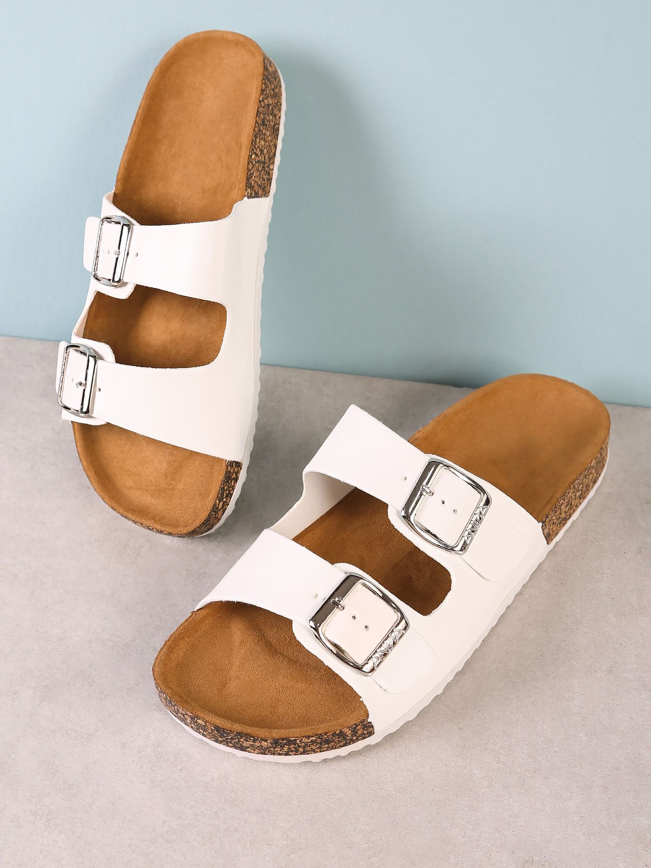 b39870e043ff Double+Buckle+Cork+Footbed+Slide+Sandal+WHITE+18.60