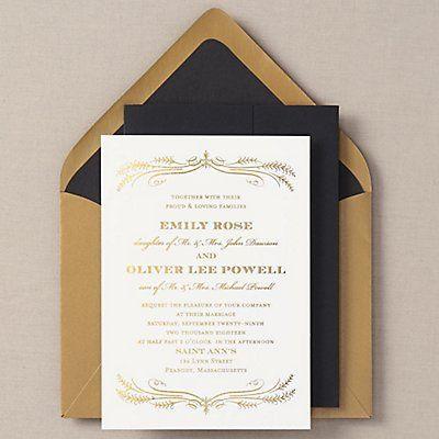 All Foil Filigree Wedding Invitation - Emily & Oliver