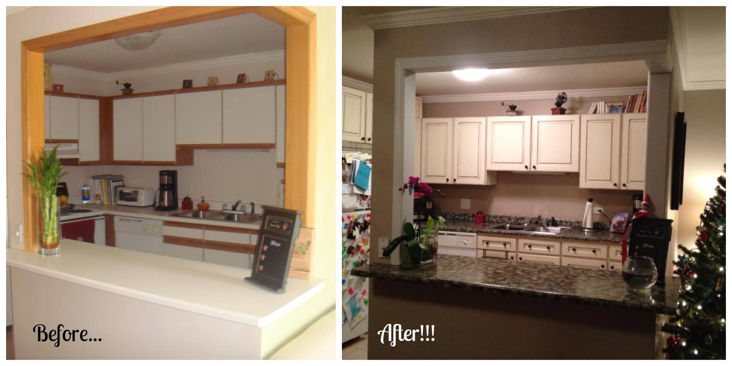 Before and after giani granite transformation using the for Painting kitchen countertops before and after