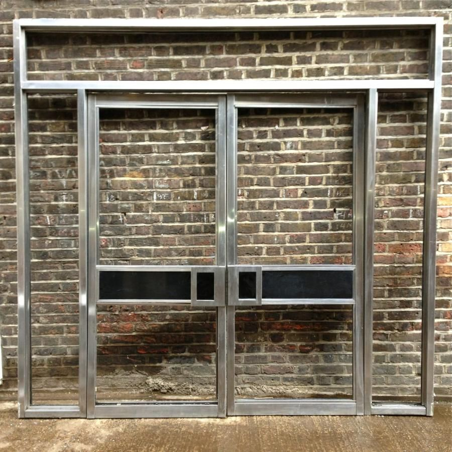 Art Deco Stainless Steel And Black Marble Double Doors These Art Deco  Double Doors Were Reclaimed