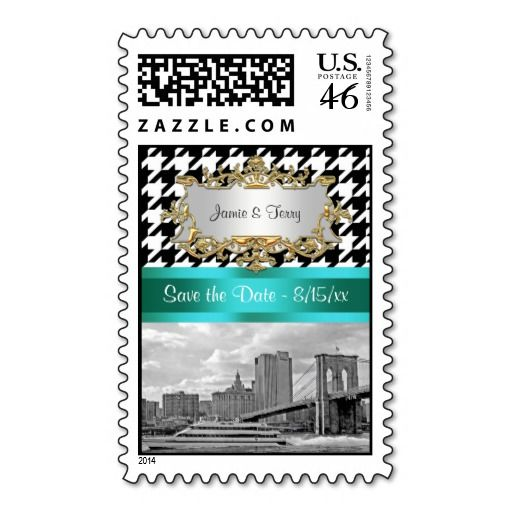 Brooklyn Bridge Blk Wht Houndstooth Save the Date Stamp