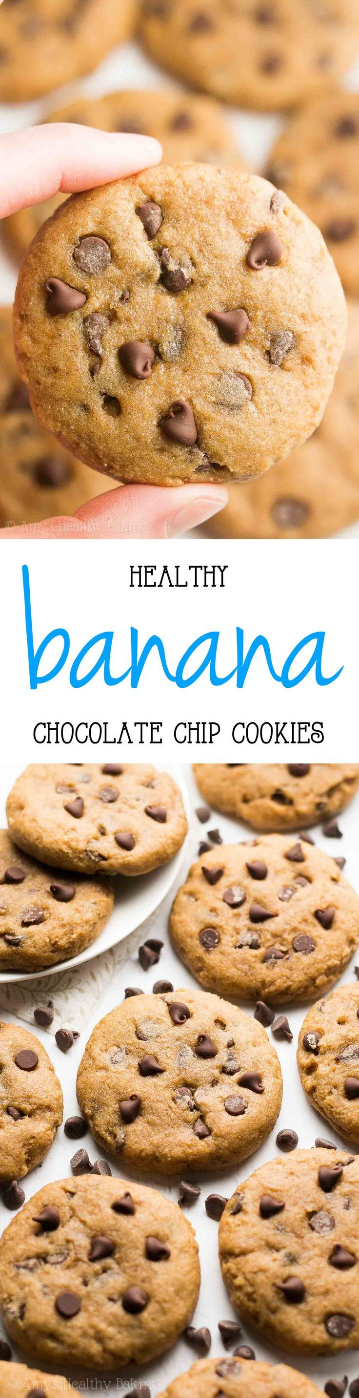 Healthy Banana Chocolate Chip Cookies Recipe -- only 90 calories! Sweet, easy & ...   - Food -