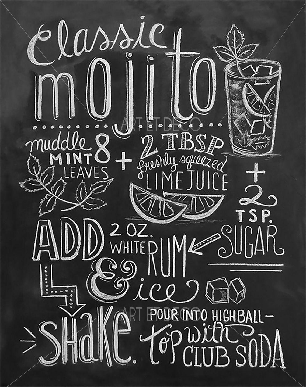 Tableau Recette Cocktail Mojito Cuisine Ardoise Tableau A Craie Recette Mojito Mojito Impression Au Tableau Noir