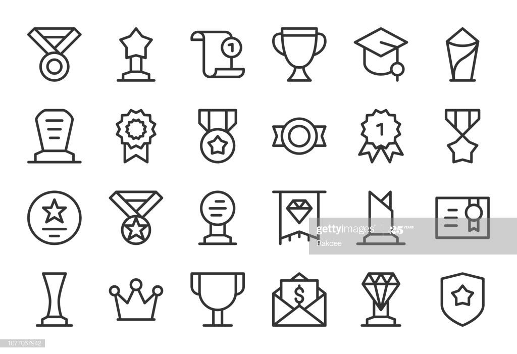 Award And Trophy Icons Light Line Series Vector Eps File Icon Vector Icon Design