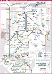 Madrid public transport system map Metro cercanias and light metro