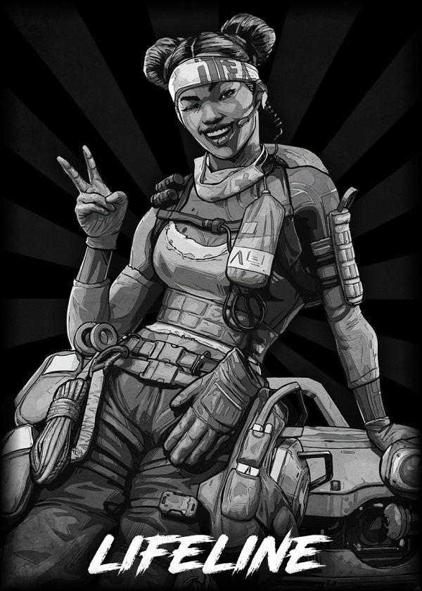 "Apex Legends B&W Radial Characters Lifeline #Displate explore Pinterest""> #Displate artwork by artist ""Durro… 