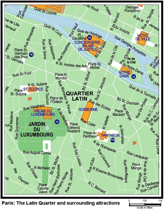 Latin Quarter Left Bank Paris Latin Quarter Paris Map Paris