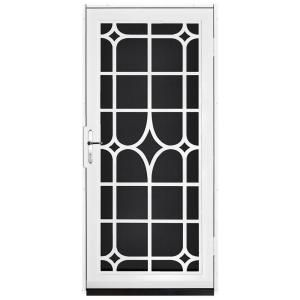 Unique Home Designs 36 In X 80 In Lexington White Surface Mount Steel Security Door With Black Perforated Screen And Brass Hardware Idr30000362136 The Home Steel Security Doors Unique House