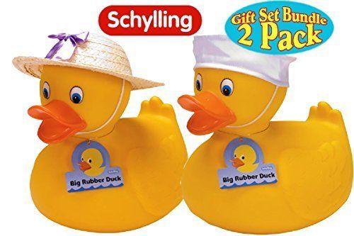 Schylling Large Rubber Ducks Straw Hat Girl Sailor Hat Boy Twin Pack Gift Set | eBay