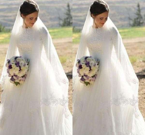 2018 Muslim Wedding Dresses High Neck Half Sleeves Appliques Satin Tulle Floor Length Modest Wedding Gowns Bridal Dress Zipper