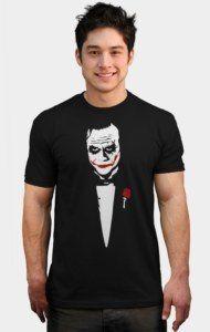 8ebacaf3 the joker batman tuxedo shirt design by humans Parody of godfather movie  poster