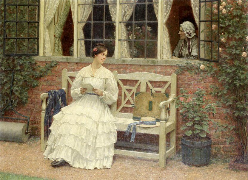 """The latest news"" by Edmund Blair-Leighton (Londres, Inglaterra, 21 de setembro de 1852- Londres, Inglaterra, 1 de setembro de 1922)"
