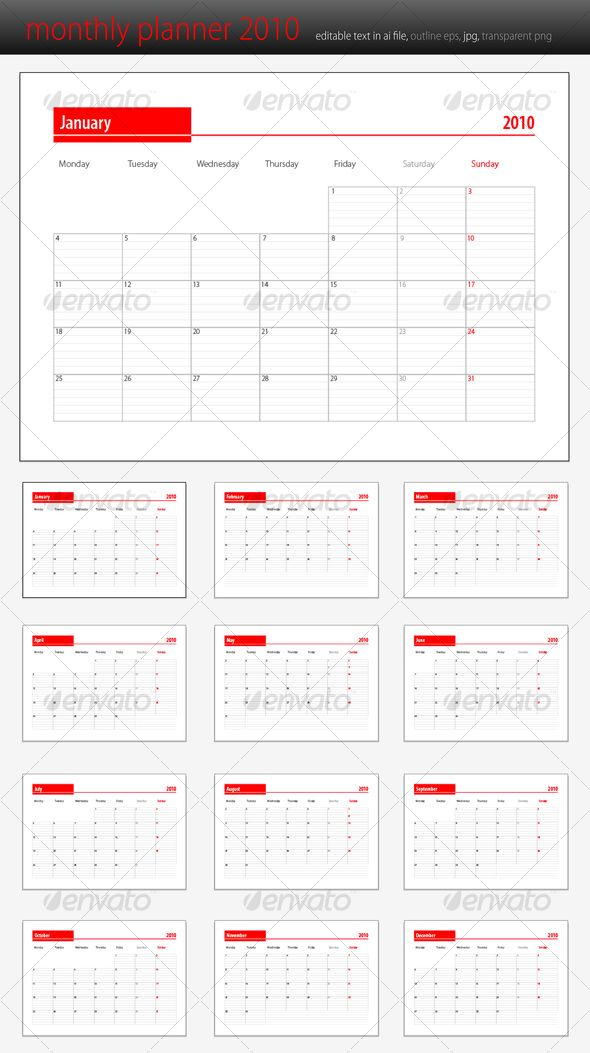 Monthly Planner 2010 Template Print Templates And Font Logo