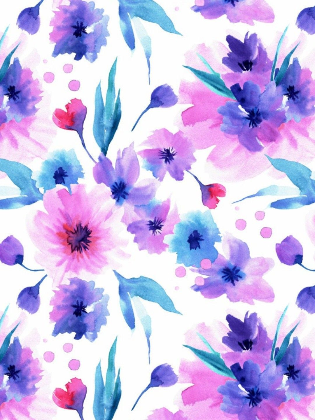 Watercolor Seamless Patterns with Pink and Purple flowers | Purple flowers wallpaper, Floral ...