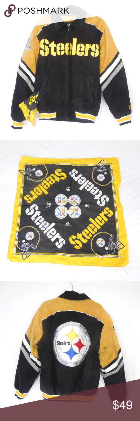 Pittsburgh Steelers Leather/Poly Jacket & Bandana PLEASE