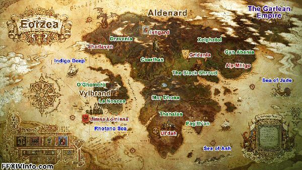 Map Of Eorzea Realm Reborn Ff14