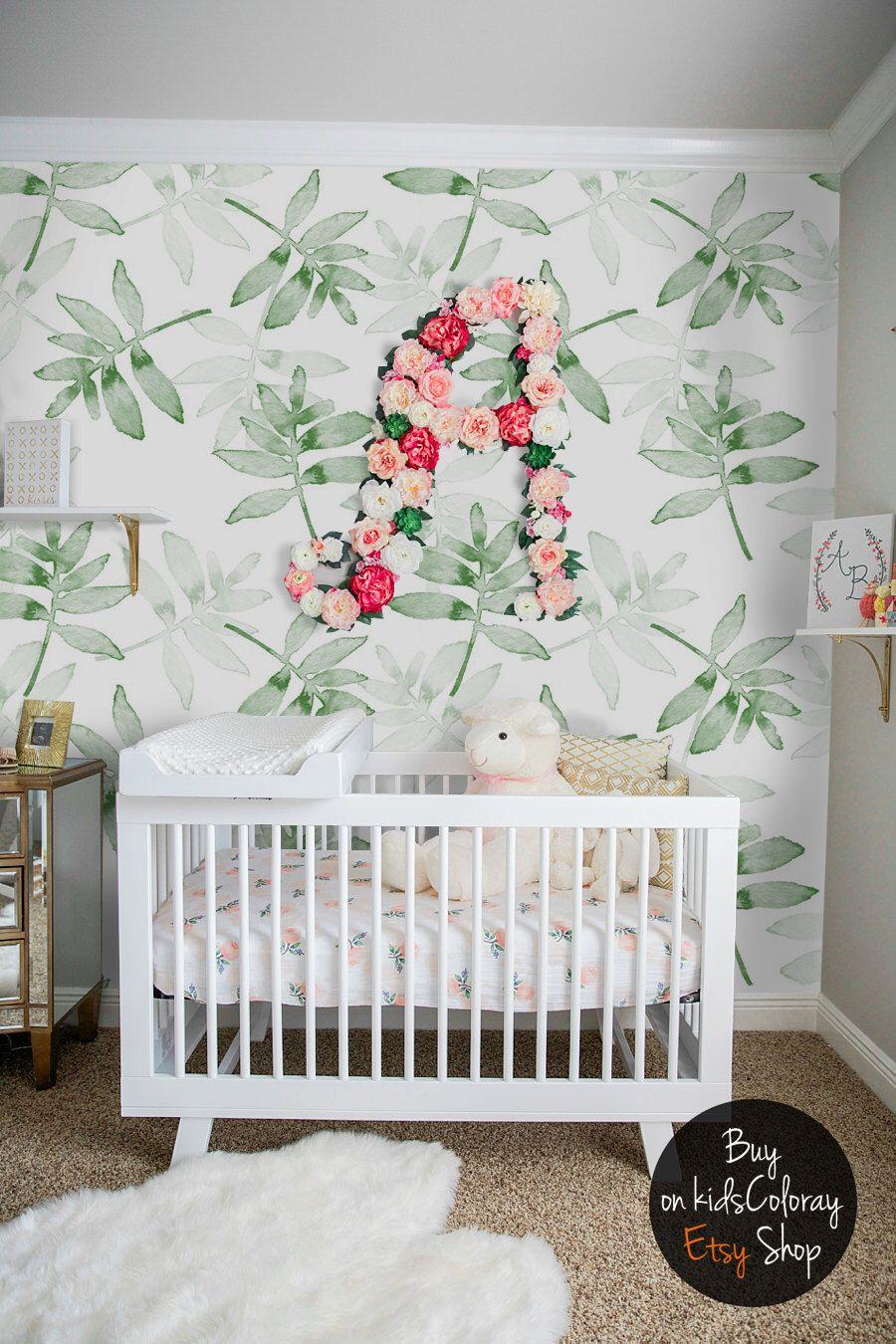 Green Leaves Wallpaper Tropical Plants Wall Mural Kids Nursery
